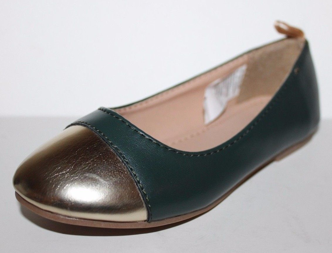 Gap Kids NWOB Girls Green Faux Leather Ballet Flats w/ Gold Toe image 6