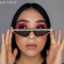Cat Eye Sunglasses Women  Luxury Diamond Sunglasses Men Small Glasses Ladies Vin image 2