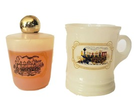 Vintage AVON Train Ever-Ready milk glass Shaving Mug & Cologne Bottle - $15.99