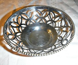 "Antique Vintage Silver Plated Pierced Bon Bon Dish Small Bowl 4 3/8"" Diameter - $8.67"