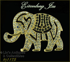 Eisenberg Ice Circus Elephant Brooch Rhinestone Covered (#J1175) - $50.00