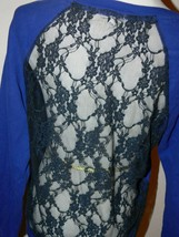 I Love H81 Blue Front  Black Lace Back Shirt Junior Size Large th - $9.99