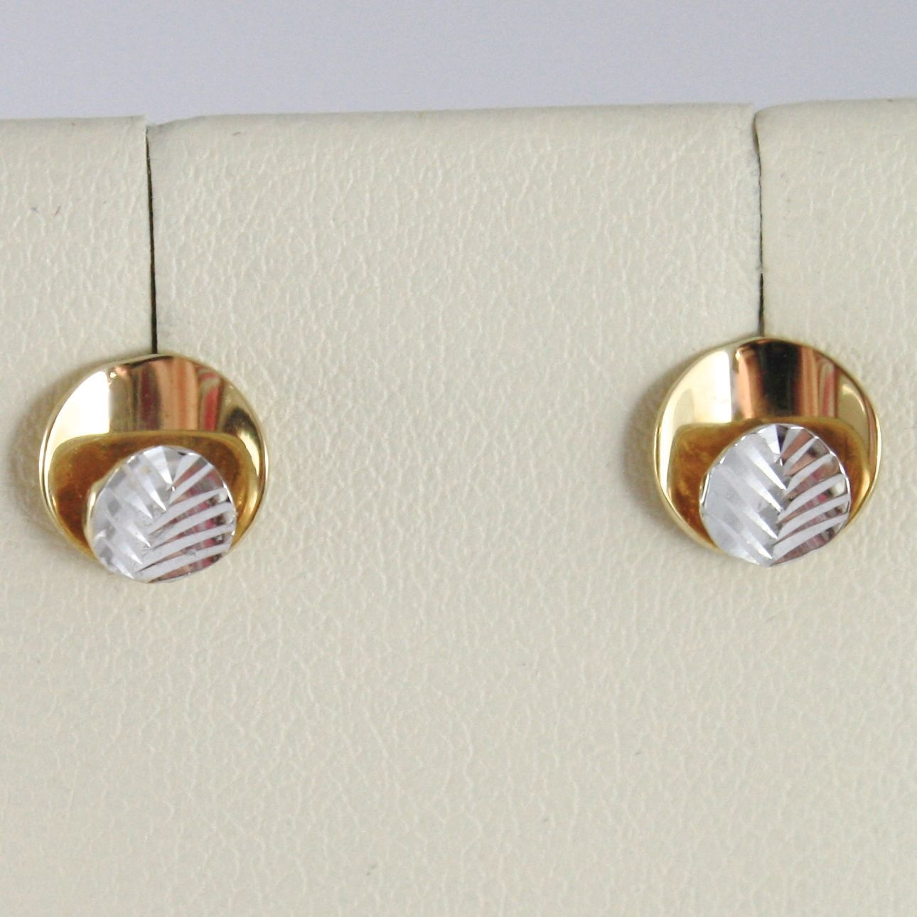YELLOW GOLD EARRINGS WHITE 750 18K, DOUBLE CIRCLE, LEAF, DIAMETER 0.7 CM
