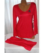 Stretch Plus Size Pajama Set Long Sleeve Long Pants 1X Red - $28.99
