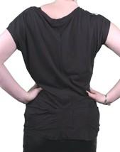 Bench UK Femmes Noir Sterling Casquette Col Rond Manche T-Shirt BLGA2369 Nwt image 2