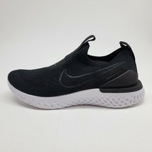 Nike Epic Phantom React Flyknit Womens Sz 5 Shoes Black White BV0415-001 NEW - $147.51