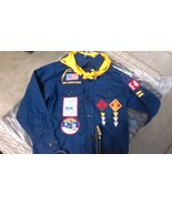 1960'S / 1970'S VINTAGE CUB SCOUT SHIRT WITH BADGES,  BANDANNA, AND BELT - $25.00