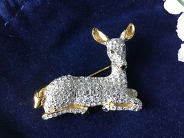 AUTHENTIC SWAN SIGNED SWAROVSKI GOLD TONE DEER PIN BROOCH - $80.00