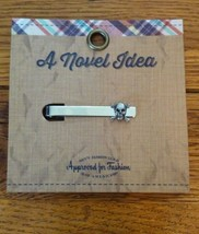 A Novel Idea Silver Bar with Antiqued Skull and Crossbones Tie Clasp