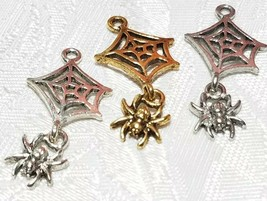 SPIDER WEB WITH DANGLING SPIDER FINE PEWTER PENDANT CHARM - 16x32x2mm image 1