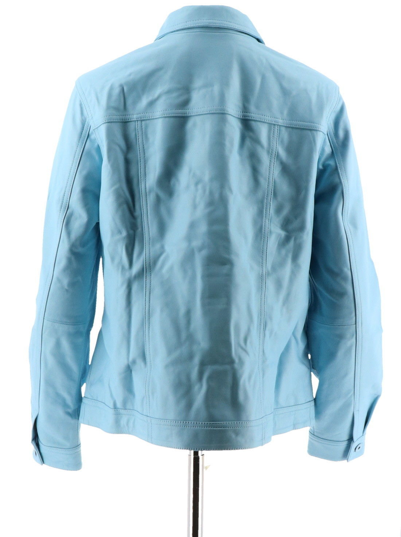 Denim & Co Lamb Leather Jean Jacket Cool Blue 2X NEW A272640