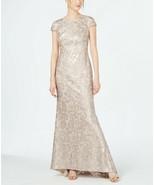 Calvin Klein Women's  Cap-Sleeve Sequined Beige Gown Size 6 - $44.91