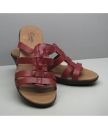 Clarks Bendables Woman's 7.5 M SHOES Red Burgundy Leather Sandals w Heel - $15.83