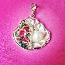 Sakura hot pink Cloisonne enamel and silver pendant - $252.10