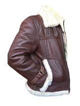 B3 RAF Aviator Pilot Sheepskin Bomber Flying Fur Shearling Brown Leather Jacket image 2