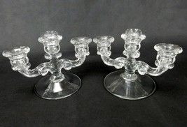 Pair of Cambridge Glass Candle Holders, Three-Sconce, Fleur-De-Lis Patte... - $29.35