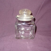 "Square Glass Jar 4"" Clear Plastic Lid - Lid has one Cracked Layer - Empty - $10.51"
