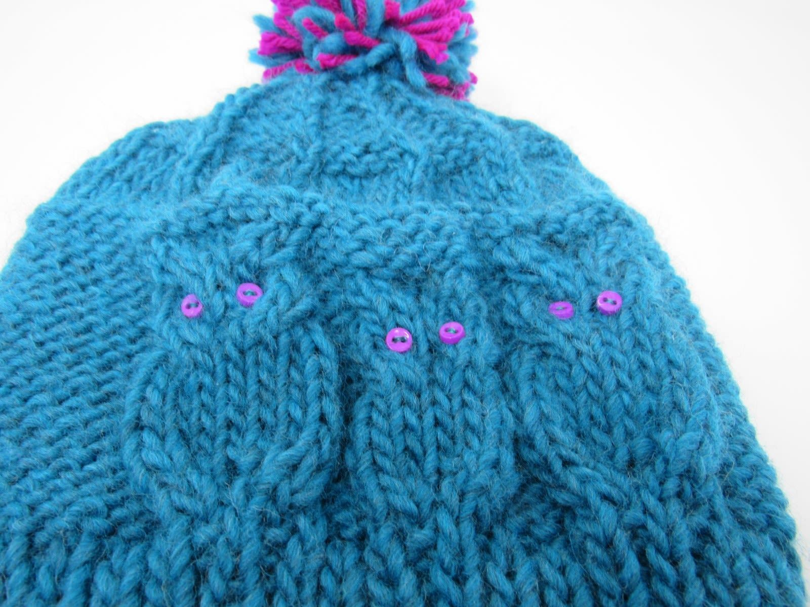 Handcrafted Knitted Hat Teal/Fuchsia Owl 100% Merino Wool Female Kids 4-6