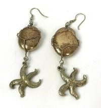 Vtg Earrings nautical Statement Dangle Starfish Hippie Boho Chic Beach g... - $14.80