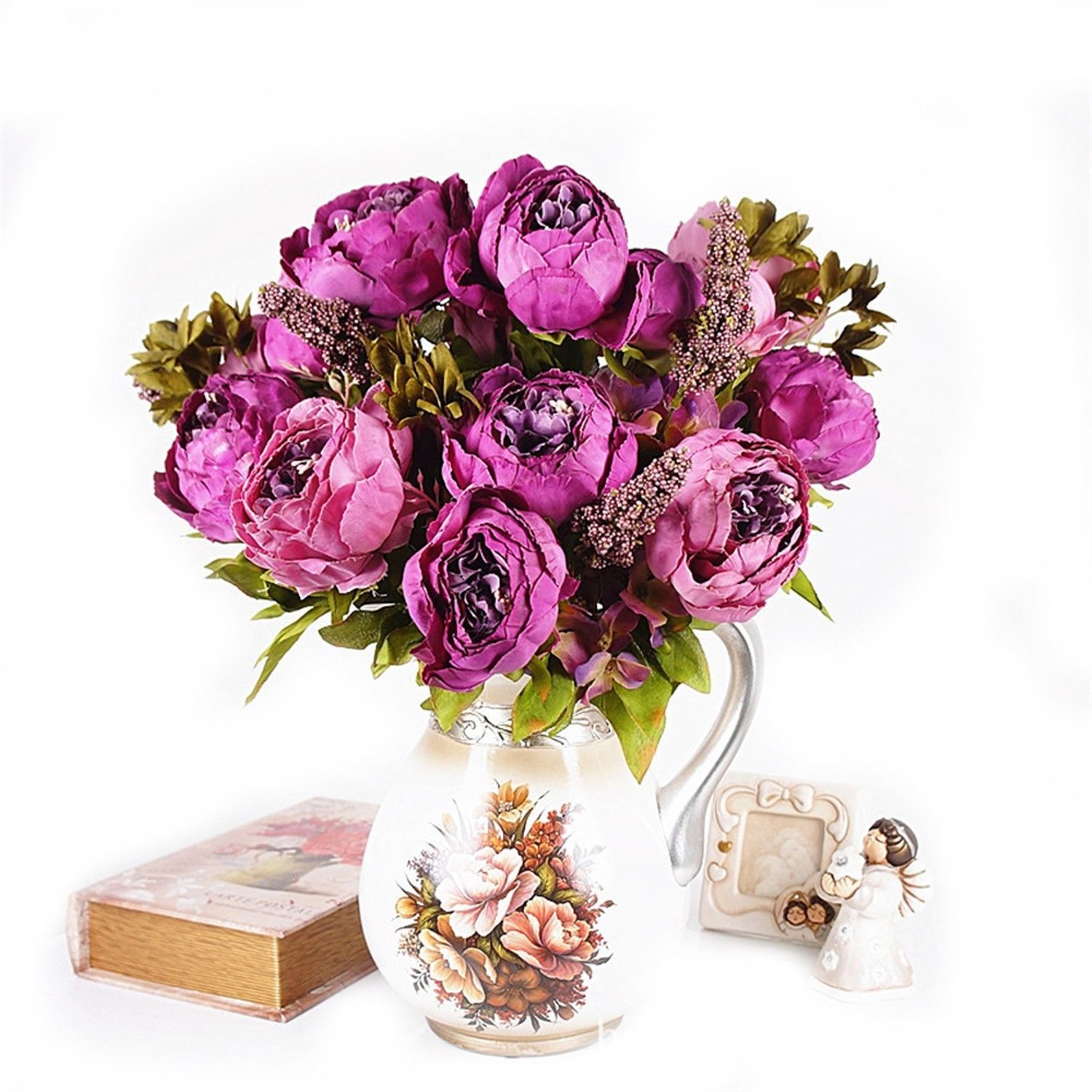 Elegant Peony Bouquet Tree Silk Flowers Home and 50 similar items