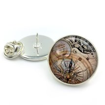 Steampunk Vintage Clock Glass Dome Round Cabochon Lapel Tie Pin Badge Gi... - $5.99