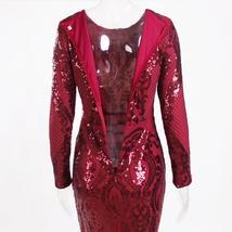 Burgundy Long Sleeve Sequined Maxi Dress Bodycon O Neck Full Length Stretchy Aut image 5