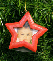 RED GLITTERED STAR MAGNETIC PICTURE FRAME CHRISTMAS TREE ORNAMENT - $8.88