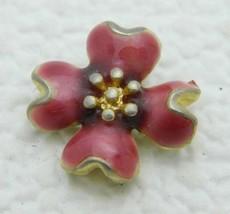 VTG Gold Tone Pink Enamel Flower Pendant - $19.80