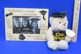 Graduation Photo Frame  Wood 4 x 6 Hallmark Con-grads! Bear Scholar Cap NOS - $15.83