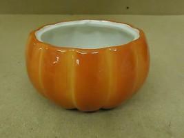 FTD Flower Pot 7in Diameter x 4in H Orange/White Pumpkin Ceramic - $19.18