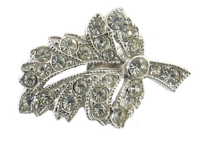 Primary image for VINTAGE ORA SWEET RHINESTONE TINY LEAF LAPEL PIN RHODIUM PLATED