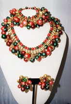 Layered Bib Necklace Bracelet & Clip Earring Faux Pearls Pat Pending  Ch... - $129.30