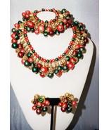 Layered Bib Necklace Bracelet & Clip Earring Faux Pearls Pat Pending  Ch... - $129.30