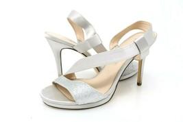 Nina Womens 7.5 M Robina Asymmetrical Sandals Gray Slingback Glitter Sli... - $29.99