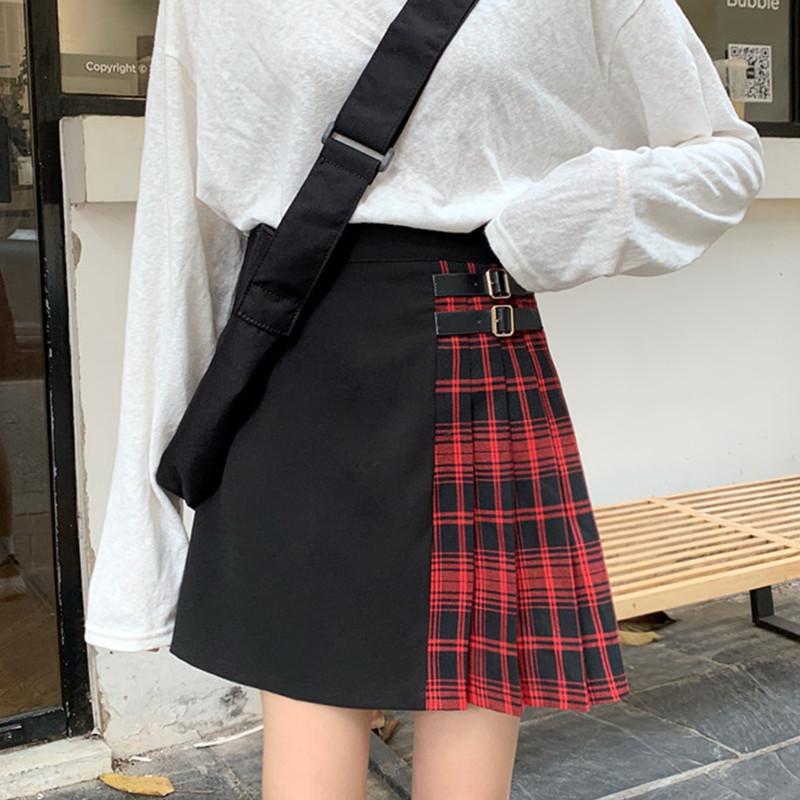 Black Navy Red Mini Plaid Skirt Women Street Style Pleated PLAID SKIRT Plus Size image 3