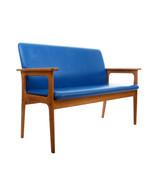 TWO SEAT SOFA by Erik Buch, 1970s. Danish oil-treated oak and blue sofa - $1,310.00