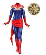 Lady Captain Suit Halloween Lycra Bodysuit Zentai Carol Danvers Costume ... - $79.00