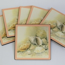 Set of 6 Vintage 1970s  Beach Theme Ocean Sea Shells Peach Coasters Cork... - $15.99