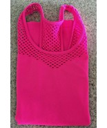 Ladies Neon Pink Nylon/Spandex Racer Back Tank Top/Fishnet Trim (One Size) - $16.83
