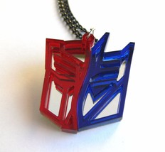 Transformers two face necklace Laser cut from red blue plastic - $14.86