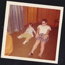 Vintage Photograph Dad & Little Boy Sitting on Floor in Livingroom Doing... - $6.93