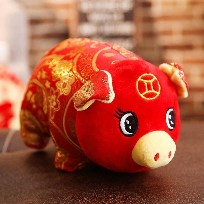 Pig Mascot Chinese Zodiac Plush Toy 2019 Year Symbol Bring Wealth Lucky Piggy