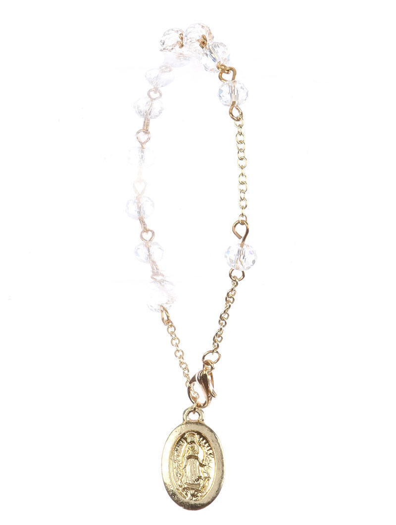Saint Mary Beads Charm Prayer Bracelet Rosary Clear Beads GoldTone