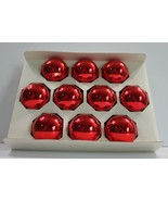 """Vintage Holly Glass Ornaments Red 2 5/8"""" Set of 10 USA Made  - $14.50"""