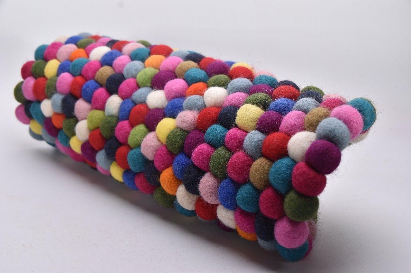 HOTPOT PAD MULTI Wool Felt Ball Round Mat Felt Ball ROUND  Circle Mat NEPAL