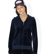 Juicy Couture Regal Blue Robertson Velour Gold J Hoodie Jacket - Small - $85.00