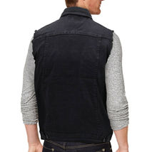 CS Men's Ripped Distressed Button Up Denim Jean Vest Removable Hood Slim Fit image 6