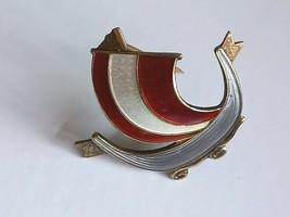 Aksel Holmen Viking Ship Enamel Brooch - $45.00