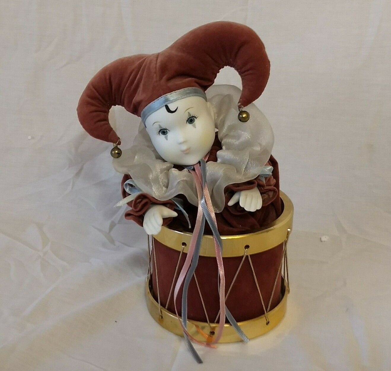 The San Francisco Music Box Company 1989 Harlequin Clown Jester Drum Music Box