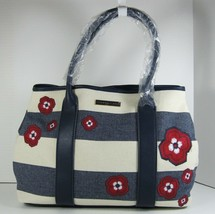 Tommy Hilfiger $98 NWT Aurora Rugby Canvas Md Tote Natural & Navy Floral... - $49.49